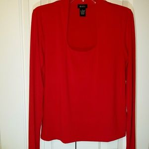 Evie L red long sleeve women's blouse